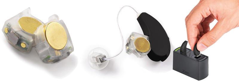充電式補聴器と充電器